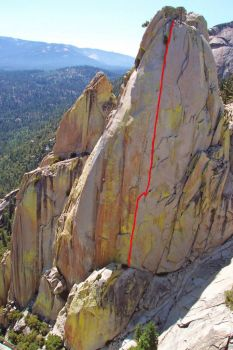 Sorcerer Needle - Thin Ice 5.10b - Needles, California USA. Click to Enlarge