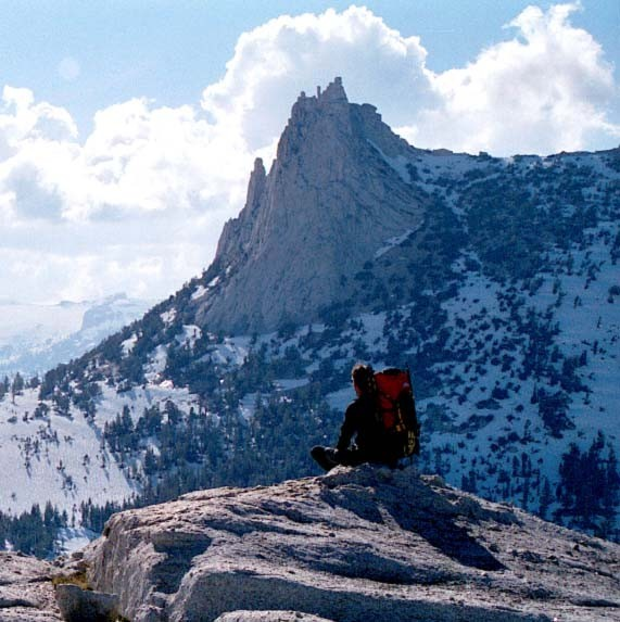 Looking at Cathedral Peak from the East. Eichorn Pinnacle is the spire...