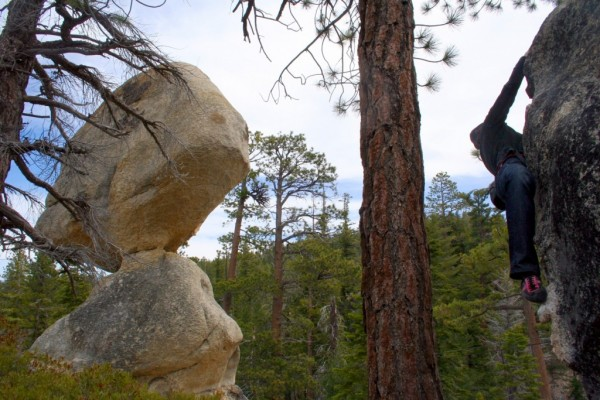 Tonya Fischer boulders near the amazing Balancing Rock.