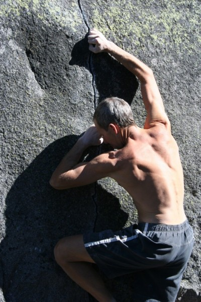 Russ Bobzien bouldering at Alpine Club.