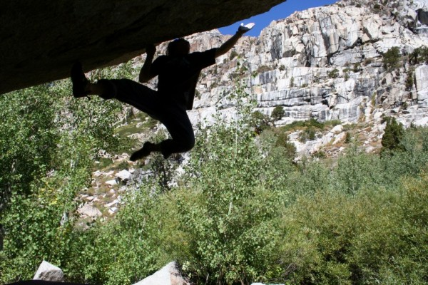Andrew Zaslove going for the crux of the mega classic Boot Camp (V5) C...