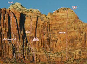 Mt. Kinesava - Lhasa V 5.11 A0 - Zion National Park, Utah, USA. Click to Enlarge