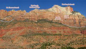 West Temple - Southwest Ridge III/IV 5.7 - Zion National Park, Utah, USA. Click to Enlarge