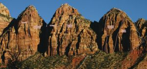 Three Marys - Southwest Face, C.T. Chimney III/IV 5.10 - Zion National Park, Utah, USA. Click to Enlarge