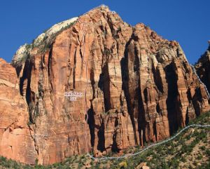 Angelino Wall - Hello Mary Lou 5.11 C1 - Zion National Park, Utah, USA. Click to Enlarge