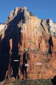Isaac - Iron Like a Lion In Zion IV/V 5.11b/c  - Zion National Park, Utah, USA. Click to Enlarge