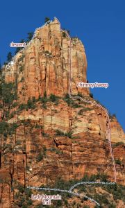 Lady Mountain - North Spur Chimney Sweep III 5.7 or 5.10 - Zion National Park, Utah, USA. Click to Enlarge