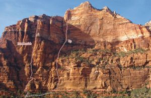 The Spearhead - Iron Messiah III/IV 5.10 - Zion National Park, Utah, USA. Click to Enlarge