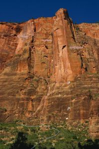 Moonlight Buttress Area - Sheer Lunacy IV 5.9 C2 or 5.12+ or 5.13 - Zion National Park, Utah, USA. Click to Enlarge