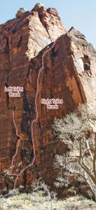 Temple of Sinewava - Right Toilet Crack III 5.10- - Zion National Park, Utah, USA. Click to Enlarge