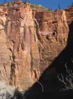 Temple of Sinewava - Monkeyfinger IV 5.12b - Zion National Park, Utah, USA. Click to Enlarge
