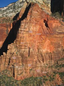 Leaning Wall - Cosmic Trauma V 5.9 C3 - Zion National Park, Utah, USA. Click to Enlarge