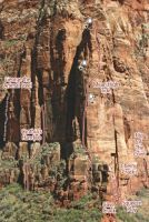 Cerberus Gendarme - Mean High Tide III/IV 5.10+ - Zion National Park, Utah, USA. Click to Enlarge
