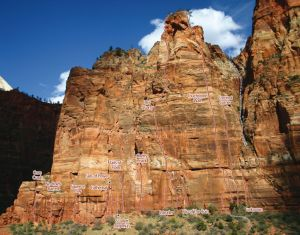 Cerberus Gendarme - Touchstone Wall IV/V 5.10 C1 or 5.13b - Zion National Park, Utah, USA. Click to Enlarge