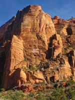 Red Arch Mountain - Wigs in Space IV 5.11 or 5.9 A1 - Zion National Park, Utah, USA. Click to Enlarge