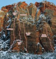 Mt. Spry - Central Pillar IV 5.10 - Zion National Park, Utah, USA. Click to Enlarge
