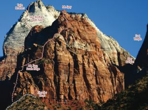 Mt. Spry - South Ridge III 5.9+R - Zion National Park, Utah, USA. Click to Enlarge
