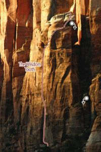 East Temple - The Wisdom Tooth II 5.10 A0 - Zion National Park, Utah, USA. Click to Enlarge