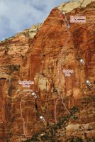 East Temple - Cowboy Bob Goes to Zion IV 5.11- R or 5.10+ C2 - Zion National Park, Utah, USA. Click to Enlarge