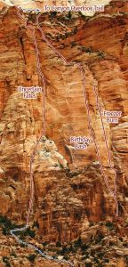 East Temple - Uncertain Fates IV/V 5.11 C1  - Zion National Park, Utah, USA. Click to Enlarge