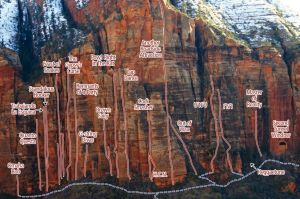 Cragmont, Tunnel Wall - G-String Divas I 5.10 - Zion National Park, Utah, USA. Click to Enlarge