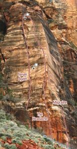 Headache Area, Tunnel Wall - Never Again II 5.10 - Zion National Park, Utah, USA. Click to Enlarge