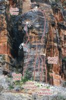 Ataxia Tower, Tunnel Wall - Cave Dweller II/III 5.10 - Zion National Park, Utah, USA. Click to Enlarge
