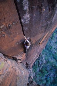 Kung Fu Theatre, Tunnel Wall - Enter the Dragon II 5.10+/11- - Zion National Park, Utah, USA. Click to Enlarge