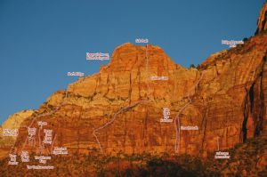 Sub Peak of Bridge Mountain - North Ridge III/IV 5.10 C1, 10 aid moves - Zion National Park, Utah, USA. Click to Enlarge