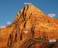 Bridge Mountain - The Sand Teton IV/V 5.11- A0 - Zion National Park, Utah, USA. Click to Enlarge