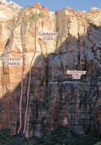 Gatekeeper Wall - Gatekeeper Crack V 5.10 C2 - Zion National Park, Utah, USA. Click to Enlarge