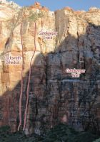Gatekeeper Wall - Locksmith Dihedral IV 5.12a or 5.11+ C1 - Zion National Park, Utah, USA. Click to Enlarge