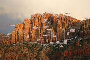 The Watchman - S and M III 5.10+ - Zion National Park, Utah, USA. Click to Enlarge