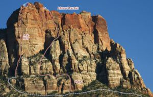 Johnson Mountain - Mojo Risin IV 5.11 or 5.10 C1 - Zion National Park, Utah, USA. Click to Enlarge