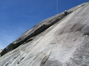 Dike Dome - Black Leather 5.8 R - Tuolumne Meadows, California USA. Click to Enlarge