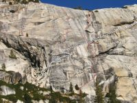 Mountaineers Dome - Vice Gripped 5.10c R - Tuolumne Meadows, California USA. Click to Enlarge