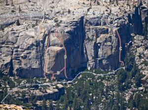 Phobos-Deimos Cliff - John Lee Hooker 5.11b or 5.10b A0 - Tuolumne Meadows, California USA. Click to Enlarge
