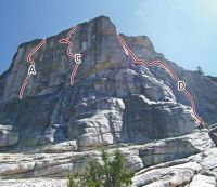 West Cottage Dome - Geekin' Hard 5.10d - Tuolumne Meadows, California USA. Click to Enlarge