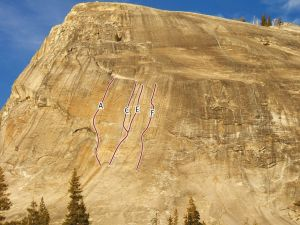 Lembert Dome, Right - Cucamonga Honey 5.10b R - Tuolumne Meadows, California USA. Click to Enlarge