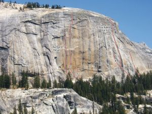 Medlicott Dome, Right - You Asked For It 5.10c X - Tuolumne Meadows, California USA. Click to Enlarge