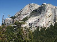 Medlicott Dome, Left - Chicken Little 5.9 R - Tuolumne Meadows, California USA. Click to Enlarge