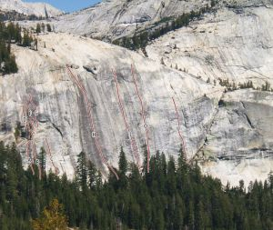 Dozier Dome - Plutonics 5.10b R - Tuolumne Meadows, California USA. Click to Enlarge