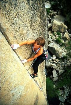 Rikke Ishoy on Fish Crack. Yosemite, CA