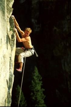 Leo Holding on Leaning Tower. Yosemite, CA