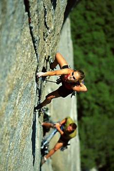 Beth Rodden and Tommy Caldwell on Lurking Fear. Yosemite, CA