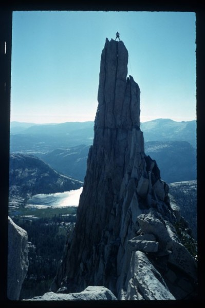 Climber on the summit of Eichorn Pinnacle.