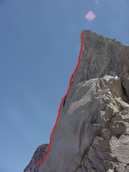 Third Pillar of Dana - Regular Route 5.10b - Tuolumne Meadows, California USA. Click to Enlarge