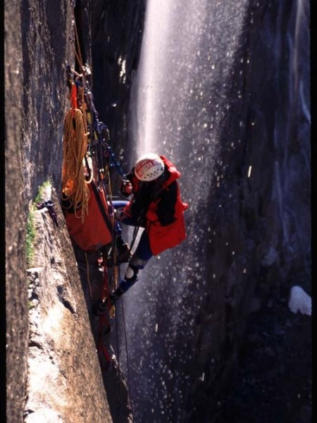 Belay 4 with Horsetail Fall behind (spring conditions).