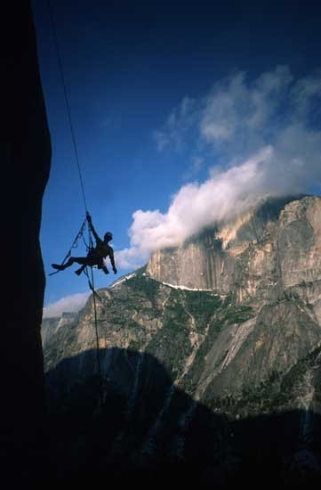 Dangling in space with Half Dome behind.