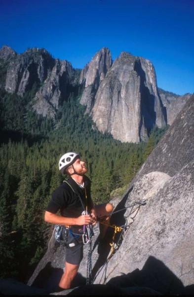 Chet Moritz at belay 2 with Cathedral Rocks behind.